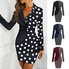Elegant Women Long Sleeve Button Polka Dot Patchwork Bodycon Blazer Work Dress Z