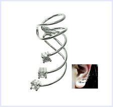 Rhodium Sterling Silver Clear CZ Cubic Zirconia Dot Earring Cuff/ Ear Cuffs Wrap