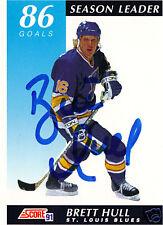 Brett Hull signed hockey card Blues NHL  Red Wings