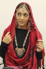 Ladies Bridal Long Necklace Matha Patti Head Piece Earrings Costume Jewellery