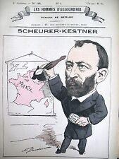 SCHEURER-KESTNER CHIMISTE INDUSTRIEL CARICATURE DEMARE HOMMES D'AUJOURD'HUI 1878