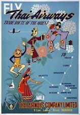 TX310 Vintage 1950's Thai Airways Thailand Orient Travel Poster A1/A2/A3/A4