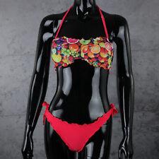 Costume da bagno DONNA Rosa FLUO due pezzi Bikini fantasia FRUTTA a fascia Mare