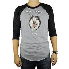 Siberian Husky Dog Baseball Raglan T-Shirt Tri Blend Soft Fitted Tee Cut Animal