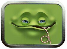 GREEN MONSTER FACE 2oz SILVER TOBACCO TIN,STASH CAN,STORAGE TIN