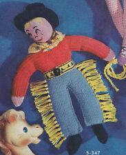 Vintage Crochet PATTERN Cowboy Soft Doll Clothes Hat
