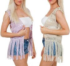 New Ladies Crochet Sleeveless Knitted Cardigan Womens Shrugs Bolero Tops UK 8-14