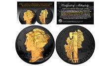 BLACK RUTHENIUM 2-Sided 1916-1945 Original AU MERCURY SILVER DIME Coin 24K Gold