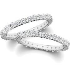 2ct Matching Diamond Eternity Wedding Ring 14K White Gold Stackable Band Set