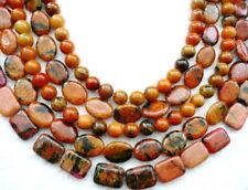 "Liquidation - 15.5"" Autumn Jasper Round 6-14 Mm Ovale Rectangle enfilade perles orange"