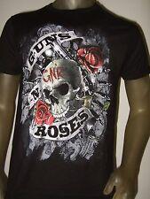 Nwt Men's Black Guns N Roses Skull Bullets Logo Metal Rock Band Group Tee Shirt