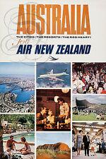 REPRO DECO AFFICHE AUSTRALIA AIR NEW ZEALAND CITIES SUR PAPIER 190 OU 310 GRS