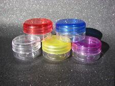 *** 10 petites boites rondes plastique 15 ml _ perles, ongles *** coul. au choix
