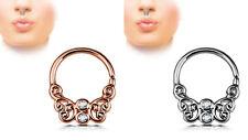 SETTO Anello per il Naso Piercing nasale Spina Chiusura a click argento oro rosa