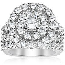 Huge 4 1/3 ct Real Diamond Cushion Double Halo Engagement Ring Wedding Set Gold