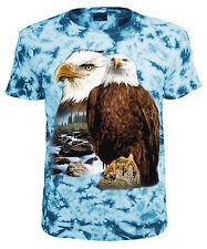 Tiermotiv T-Shirt Adler Weisskopfseeadler Blau Batik