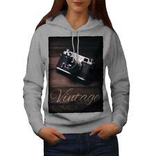 Wellcoda Vintage Foto Camera Womens Hoodie, Retro Casual Hooded Sweatshirt