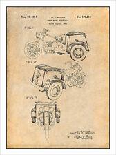 1952 Three Wheel Motorcycle Trike Police Patent Print Art Drawing Poster 18 X 24