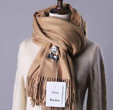 Men Women Cashmere Wool Pashmina Scarf Pure Color Wrap Winter Warm Solid Blanket