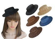 "Handmade 7.5"" Solid Color Straw Stripe Mini Top Hat Craft Fascinator  A224"