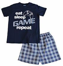 Eat Sleep Jeu Répéter Court Pyjama 9 To 14 ans carreaux bleu