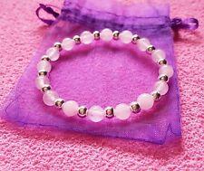 925 sterling silver gemstone bead bracelet rose quartz or amethyst elasticated