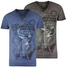 hangOwear Herren Trachten T-Shirt Trachtenshirt Oil-Waschung Front Print Hirsch