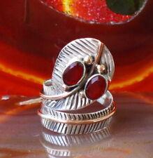 Anillo Culebra Cobra Rubino Rojo Plata Esterlina 925 Bicolor Armadura