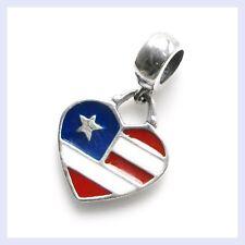 STR Silver American Flag USA Heart Dangle Enamel Bead f/ European Charm Bracelet