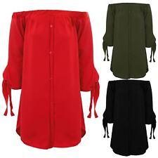 Ladies Bardot Off Shoulder Button Up Crepe Blouse Shirt Tunic Mini Smart Dress