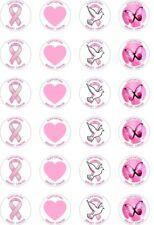 24x Precortada soporte de cinta rosa/concientización del cáncer de mama arroz Cup Cake Toppers