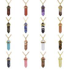 "40mm Gemstone Rock Crystal healing point  Golden cap 20""Chain"