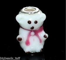 A silver plated handmade lampwork bear charm bead 22mm