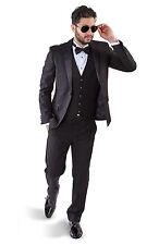 Slim Fit AZAR MAN Black Tuxedo 2 Button Satin Notch Lapel 3 Piece Vested BY AZAR