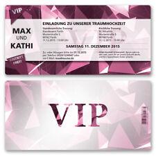 Einladungskarten zur Hochzeit als Eintrittskarte VIP Ticket Einladung Edel Pink