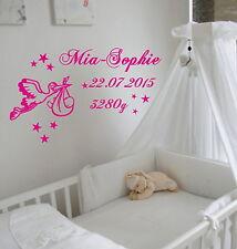 Wandtattoo zur Geburt mit Storch und Baby, mit Wunschnamen,Datum und Gewicht