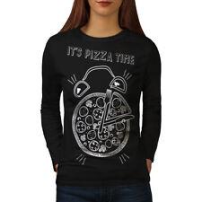 Tiempo De Pizza Comida basura Joke para mujeres de manga larga T-shirt new | wellcoda