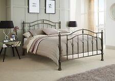 Xena Crystal Finial Metal Bed Frame in Black Nickel or Nickel 4FT6 5FT 6FT