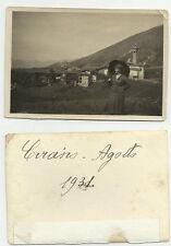 ANTICA FOTO DI DONNA 1931 PAESE DI MONTAGNA LEGGI IL NOME DEL PAESE A RETRO