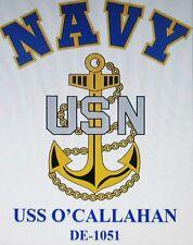 USS O'CALLAHAN   DE-1051* FRIGATE* U.S NAVY W/ ANCHOR* SHIRT