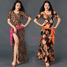 New Women's Leopard Floral Printed Belt Belly Dance Performance Dress Dancewear