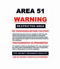 Area 51 Naranja no traspasar Roswell señal de advertencia A4 Placa De Metal Pubs