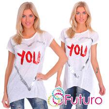 Ladies White Asymmetric T-Shirt You Print Top 100% Cotton Tunic Size 8-12 FT1762