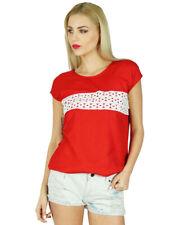 Bimba Women Short Sleeve Tank Top Lace Casual Summer Blouse Boho Chic Clothig