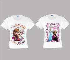 Kids Disney Princess Frozen Anna Elsa Strong Bond & Sisters Forever T-Shirt New