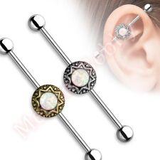 14G 38mm Opal Starburst Industrial Barbell Ear Ring Body Piercing Jewellery