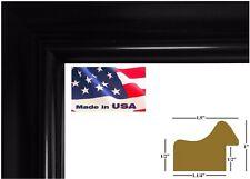 """US ART Frames 1.5"""" Wide Black Matt Finish Solid Wood Picture Frame"""