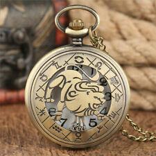 Steampunk 12 Zodiac Constellation Unisex Quartz Pocket Watch Pendant Chain Gifts
