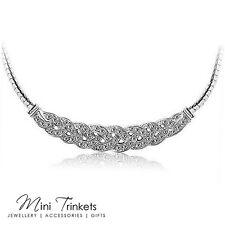 18K Gold Plated Cubic Zirconia Crystal Gem Rhinestone Tennis Necklace Pendant