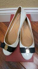 $560 Salvatore Ferragamo Flats White patent with Black Bow 5.5B 6.5B 7B 11B